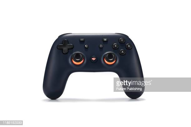 A Google Stadia video game controller with a Night Blue finish taken on November 27 2019