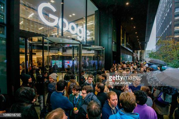 Google staff stage a walkout at the company's UK headquarters in London on November 1 2018 as part of a global campaign over the US tech giant's...