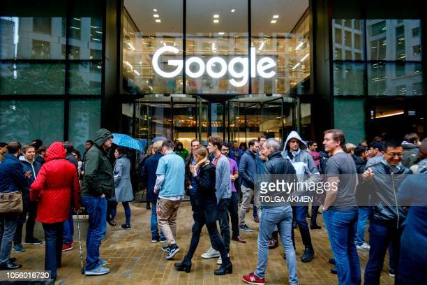 Google staff stage a walkout at the company's UK headquarters in London on November 1, 2018 as part of a global campaign over the US tech giant's...