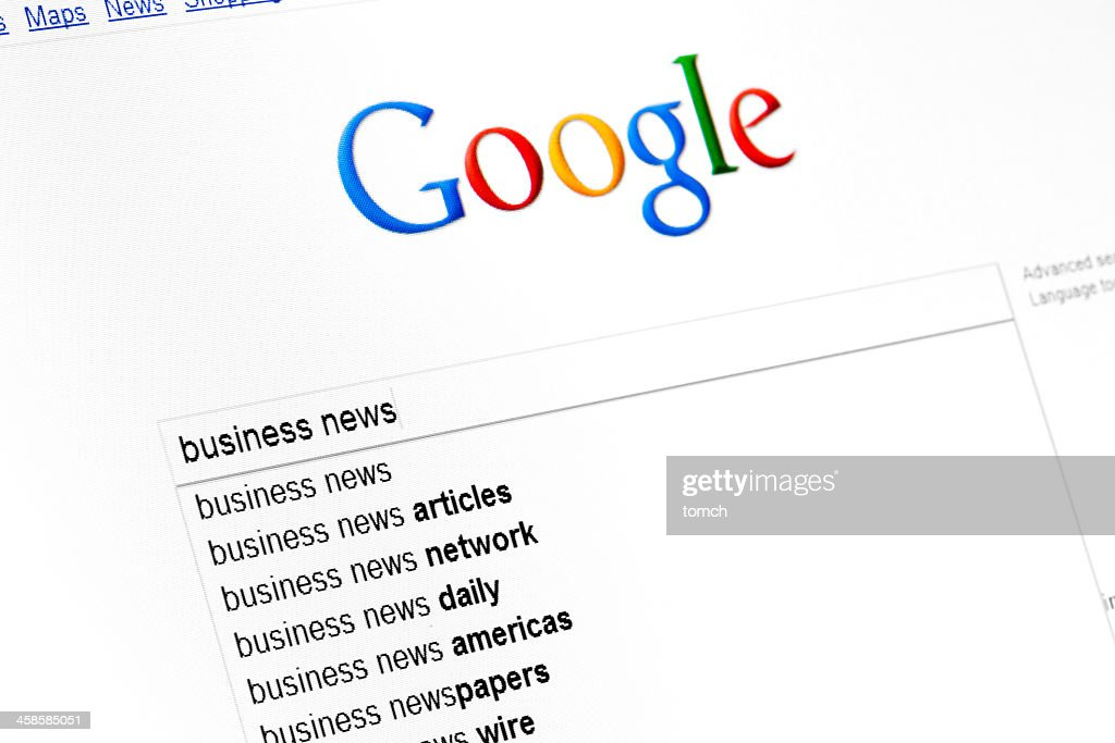 Google start page on browser window : Stock Photo