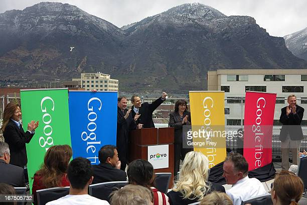 Google state and city officials gather at the Provo Convention Center to announce that the city has been chosen as the third city in the country to...