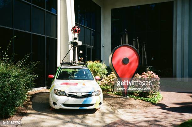 Google Streetview car and oversized Google Maps pin parked in front of the Google Maps building at the Googleplex, the Silicon Valley headquarters of...