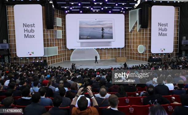 Google SVP of Devices and Services Rick Osterloh announces the new Nest Hub Max during the keynote address at the 2019 Google I/O conference at...