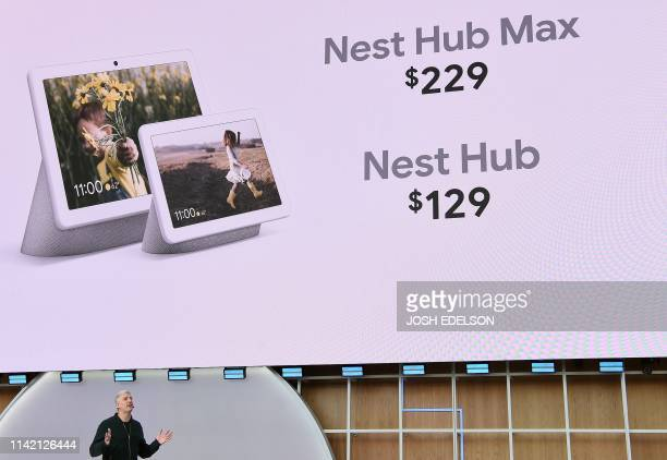 Google SVP of Devices and Services Rick Osterloh introduces the Nest Hub Max during the Google I/O conference at Shoreline Amphitheatre in Mountain...