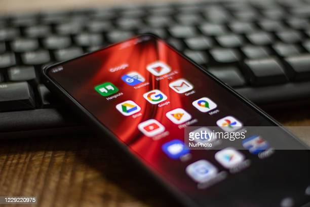 Google thumbainls inlucing Google Apps like Gmail, Maps, YouTube, Drive, Hangouts etc as seen on a phone screen. Google closeup logo displayed on a...