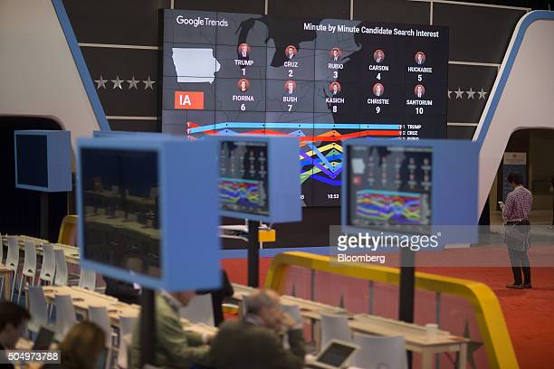 A Google Trends minute by minute candidate search interest monitor hangs in the media filing center ahead of the Republican presidential candidate...
