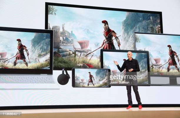 Google vice president and general manager Phil Harrison speaks during the GDC Game Developers Conference on March 19 2019 in San Francisco California...