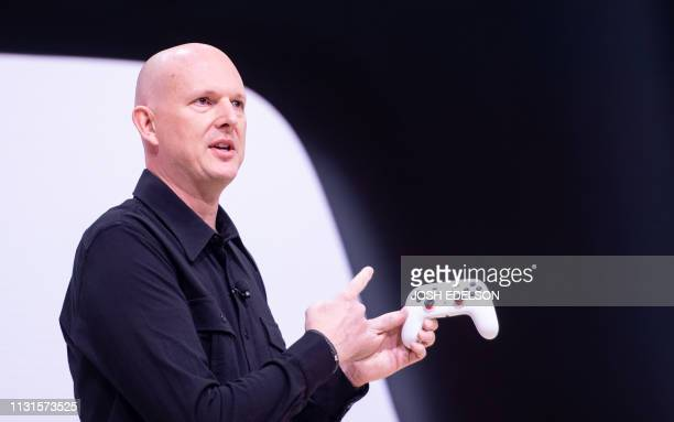 Google Vice President and General Manager Phil Harrison speaks onstage during the annual Game Developers Conference at Moscone Center in San...
