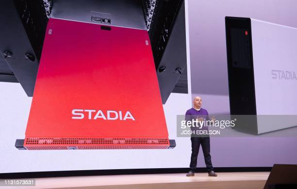 Google Vice President Majd Bakar speaks onstage during the annual Game Developers Conference at Moscone Center in San Francisco California on March...