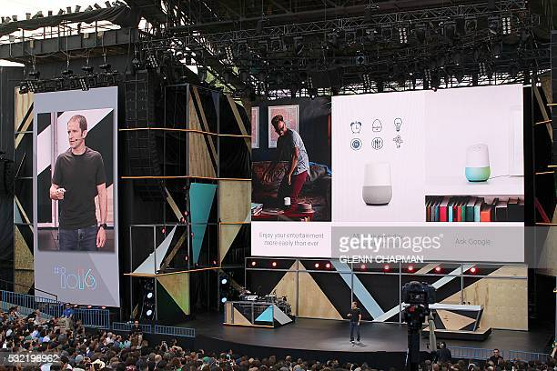 Google vice president of product management Mario Queiroz shows off a Google Home virtual assistant device that could challenge the Amazon Echo at...