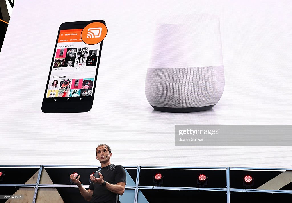 Google Vice President of Product Management Mario Queiroz shows the new Google Home during Google I/O 2016 at Shoreline Amphitheatre on May 19, 2016 in Mountain View, California. The annual Google I/O conference is runs through May 20.