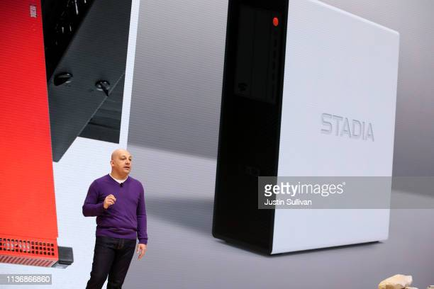 Google vice president of project stream Majd Bakar speaks during the GDC Game Developers Conference on March 19 2019 in San Francisco California...
