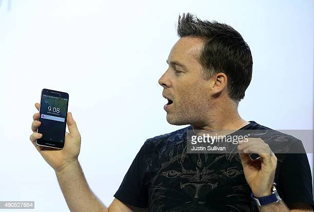 Google VP of engineering Dave Burke announces a new Nexus phone during a Google media event on September 29 2015 in San Francisco California Google...