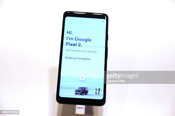 Google's new Pixel 2 phone sits on display at a New York City popup shop on October 19 2017 in New York City The temporary store in the Flatiron...