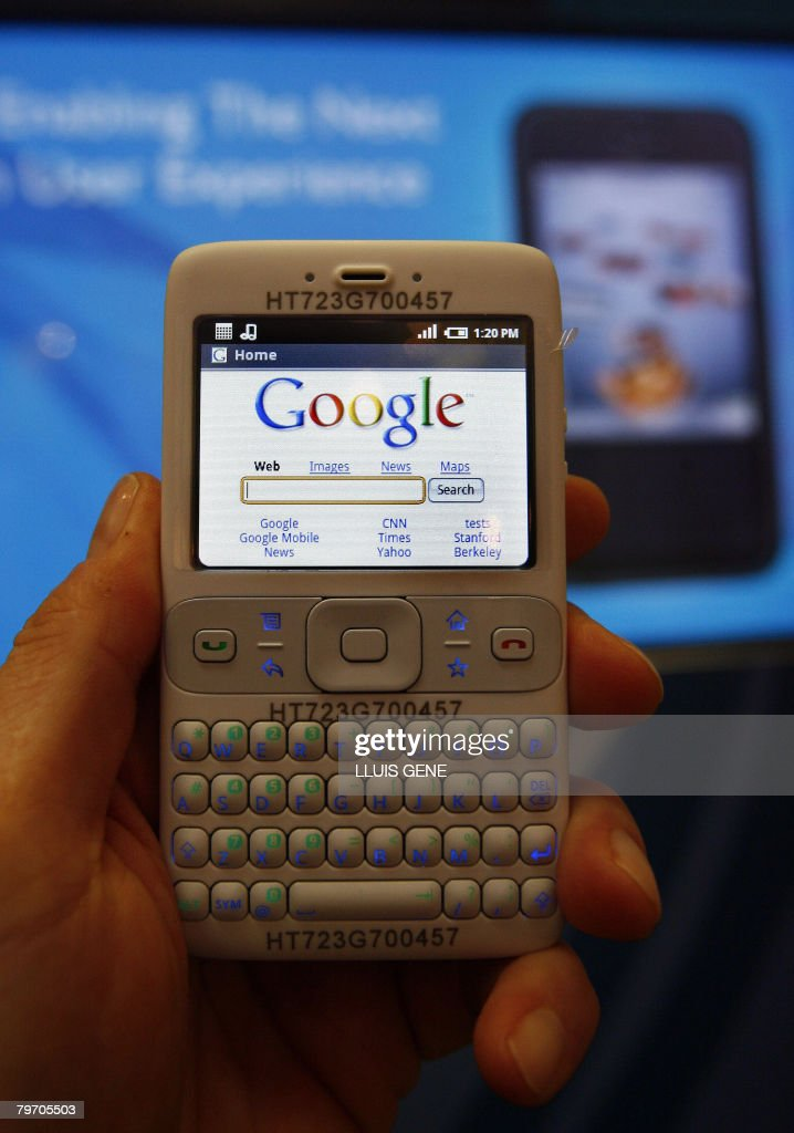 Google's new software platform for mobile phones entitled 'Android' in its prototype form on demonstration at the Mobile World Congress in Barcelona on February 11, 2008. Google launched Android last year, hoping to establish its software as the dominant operating system for mobile phones and to improve the quality of web-browsing for handset users.