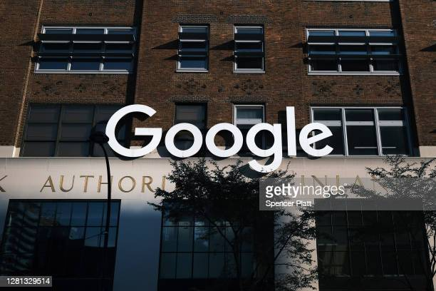 Google's offices stand in downtown Manhattan on October 20, 2020 in New York City. Accusing the company of using anticompetitive tactics to illegally...