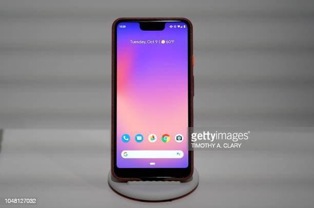 Google's Pixel 3 phone is on display during the official launch of the new Google Pixel 3 and 3 XL phone at a press conference in New York on October...