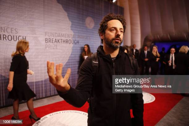 Google's Sergey Brin arrives on the red carpet at the Breakthrough Prizes an awards ceremony that's been likened to the Academy Awards of science at...