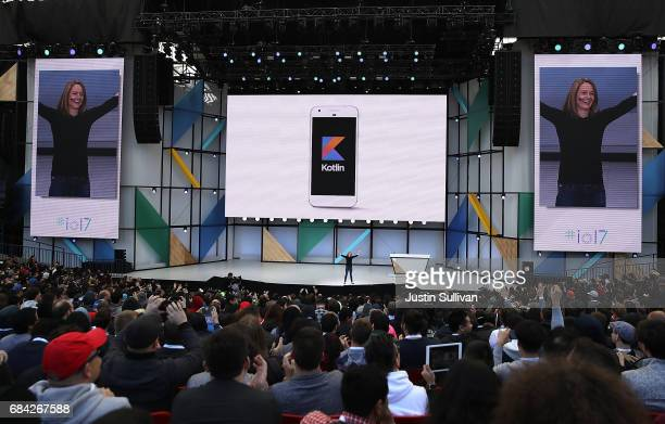 Google's Stephanie Saad Cuthbertson announces Android support of the Kotlin programming language during the opening keynote address at the Google I/O...