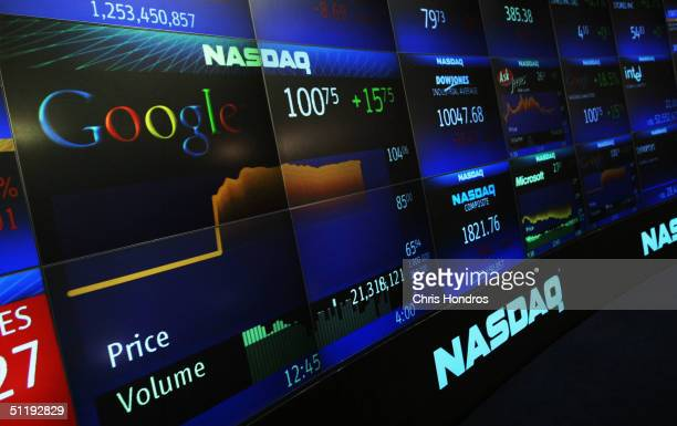 Google's stock price appears on the NASDAQ Marketsite just before the markets close August 19, 2004 in New York City. Shares of Google Inc. Closed at...