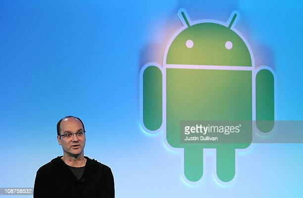 Google's vice president of engineering Andy Rubin speaks during a press event at Google headquarters on February 2 2011 in Mountain View California...