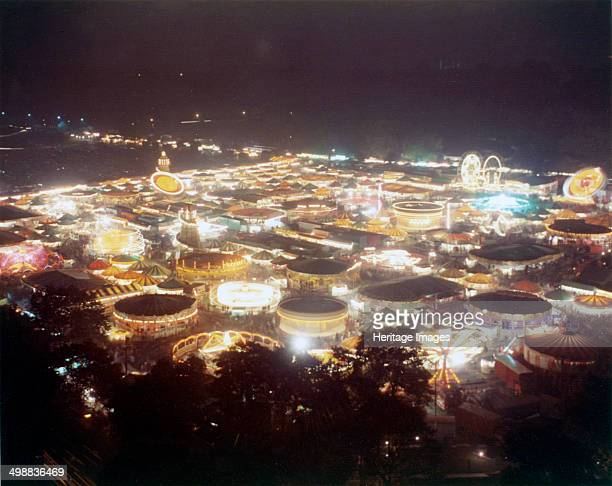 Goose Fair Forest Recreation Ground Nottingham Nottinghamshire 1973 General View at night from Hyson Green Flats The annual Nottingham Goose Fair is...