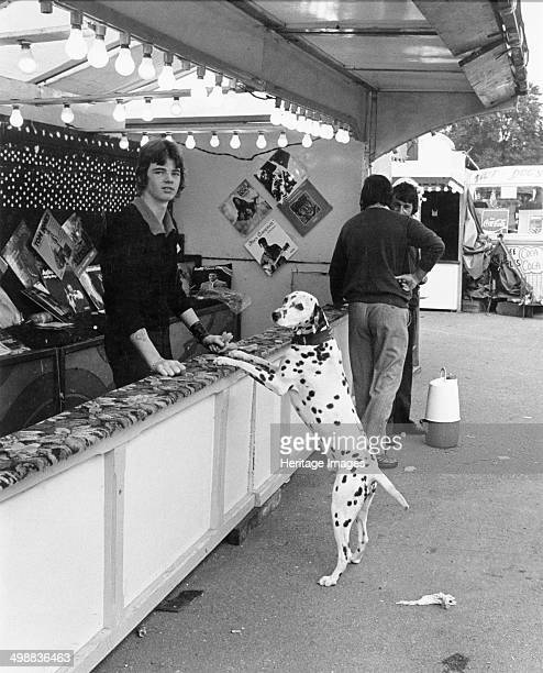 Goose Fair Forest Recreation Ground Nottingham Nottinghamshire 1975 A dalmatian dog at a Throwingdartstowinrecordsasprizes stall The annual...