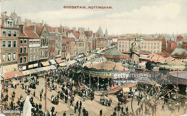 Goose Fair Market Place Nottingham Nottinghamshire 1907 The east aspect looking towards The Exchange The Goose Fair was originally held in Nottingham...