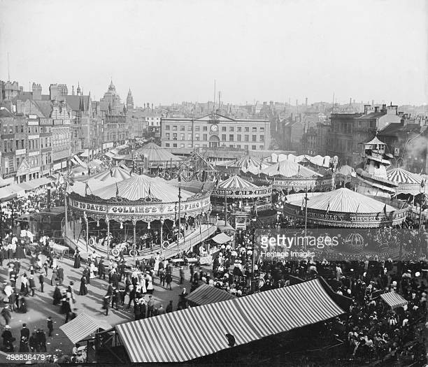 Goose Fair Market Place Nottingham Nottinghamshire 1908 East aspect looking towards the Exchange from Beastmarket Hill during a heatwave The Goose...