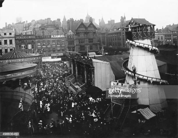 Goose Fair Market Place Nottingham Nottinghamshire 1910 Northeast aspect looking towards Long Row from South Parade showing the Helterskelter which...