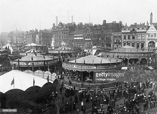 Goose Fair Market Place Nottingham Nottinghamshire 1914 Looking northwest from South Parade Towards Long Row central and Griffin and Spalding's store...