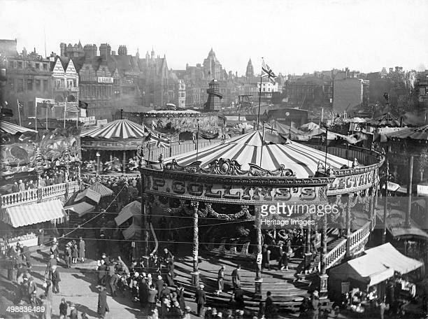 Goose Fair Market Place Nottingham Nottinghamshire 1926 East aspect looking towards the empty space left after the demolition of the Exchange and...