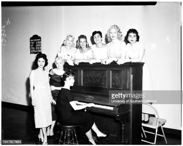 Goose girl finalists, 08 May 1958. Barbara Hallenberg -- 19 years;Dolores Sims -- 21 years;Jan Marie Dolan -- 21 years;Augusta Hopkins -- 18...