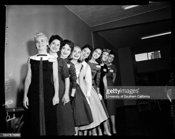 Goose Girl finalists at Hollywood Park, 23 April 1957. Jan Dolan;Janice Wymond;Judy Simmons;Loretta Pellegrino;Barbara Becker;Berdetta...