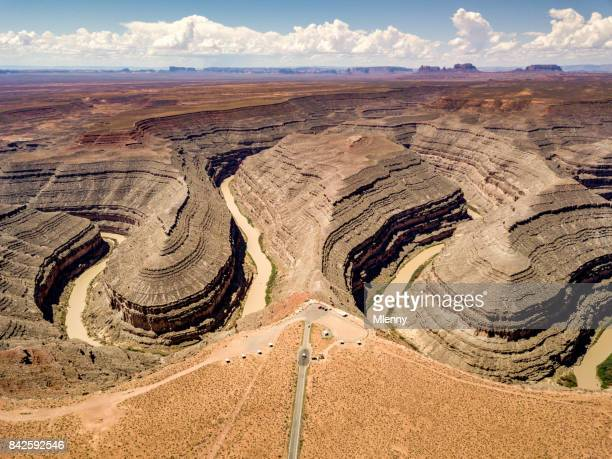 Vue aérienne de l'Utah Goosenecks State Park