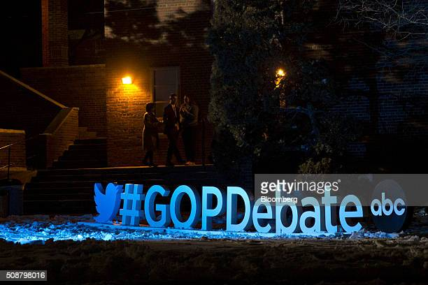 A 'GOPDebate' sign sits on the ground ahead of the Republican presidential candidate debate sponsored by ABC News and the Independent Journal Review...