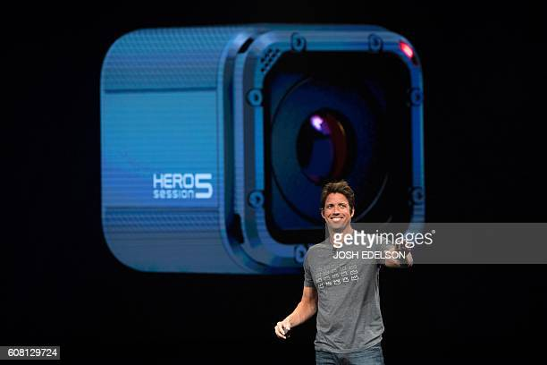 GoPro CEO Nick Woodman introduces the HERO5 Black during a press event in Olympic Valley California on September 19 2016 / AFP / JOSH EDELSON