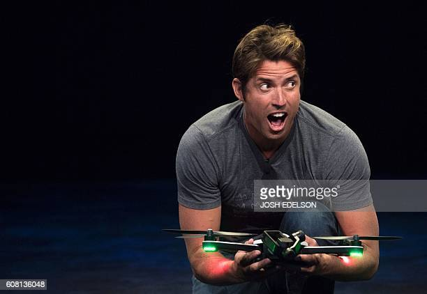 GoPro CEO Nick Woodman introduces the new foldable Karma drone during a press event in Olympic Valley California on September 19 2016 / AFP / JOSH...