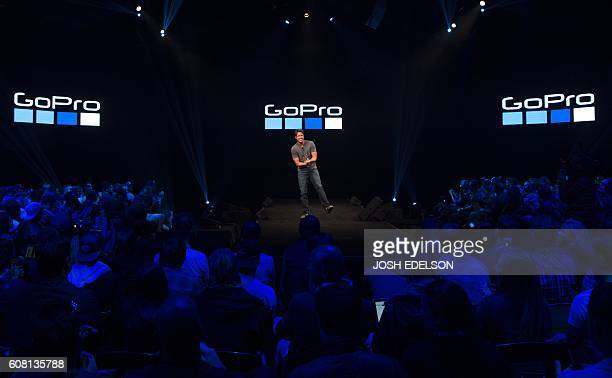 GoPro CEO Nick Woodman speaks on stage during a press event in Olympic Valley California on September 19 2016 / AFP / JOSH EDELSON