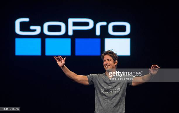 GoPro CEO Nick Woodman takes the stage during a press event in Olympic Valley California on September 19 2016 / AFP / JOSH EDELSON