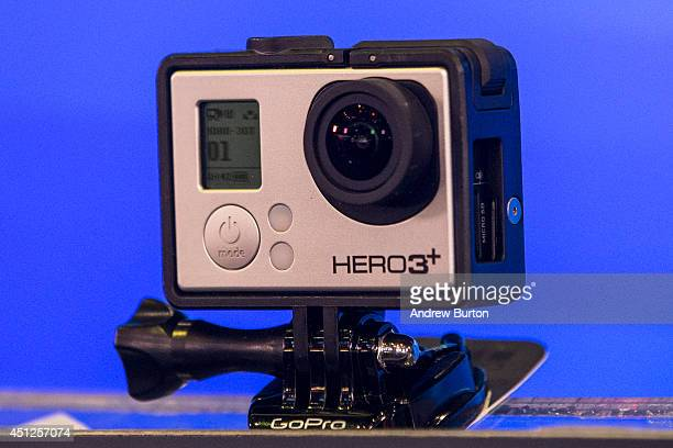 GoPro Hero 3 sits on display during the company's initial public offering at the Nasdaq Stock Exchange on June 26 2014 in New York City GoPro's small...