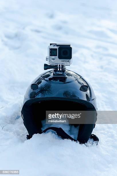 GoPro Hero 4 Black Edition on top of skiing helmet