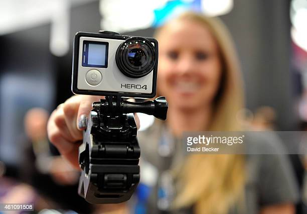 GoPro Hero 4 camera is displayed at the 2015 International CES at the Las Vegas Convention Center on January 6 2015 in Las Vegas Nevada CES the...