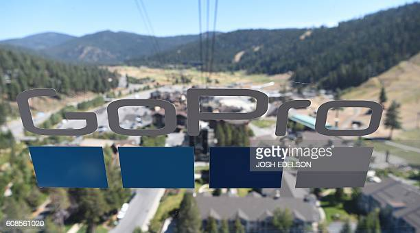 A GoPro logo is seen on a tram as it traverses down a mountain in Olympic Valley California on September 19 2016 / AFP / JOSH EDELSON