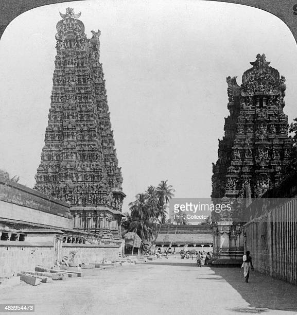 Gopuram Sri Meenakshi Hindu Temple Madurai Tamil Nadu India c1900s Stereoscopic card Dedicated to Shiva and his consort the princess Meenakshi the...