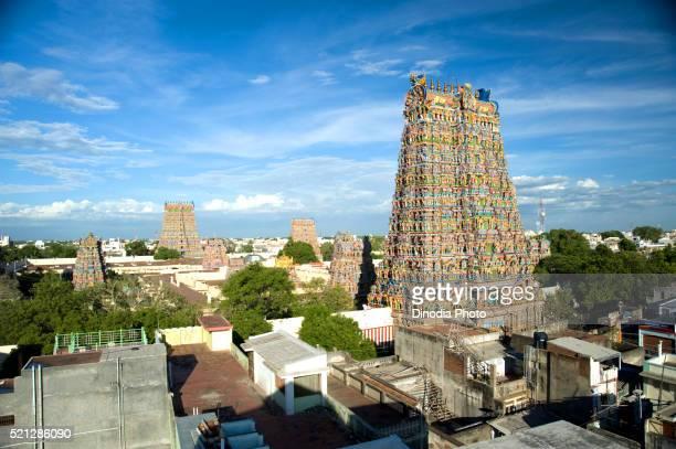 Gopurams of meenakshi sundareswarar or meenakshi amman temple at, Madurai, Tamil Nadu, India