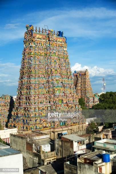 Gopurams of meenakshi sundareswarar or meenakshi amman temple, Madurai, Tamil Nadu, India