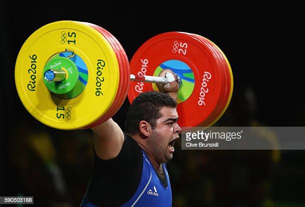Gor Minasyan of Armenia competes during the Men's 105kg Weightlifting contest on Day 11 of the Rio 2016 Olympic Games at Riocentro Pavilion 2 on...