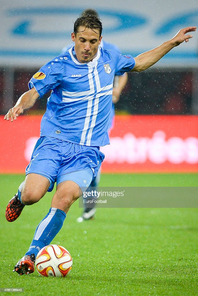 Goran Cvijanovic of HNK Rijeka in action during the UEFA Europa League Group G match between R. Standard de Liege and HNK Rijeka at the Stade Maurice Dufrasne on September 18,2014 in Liege,Belgium.