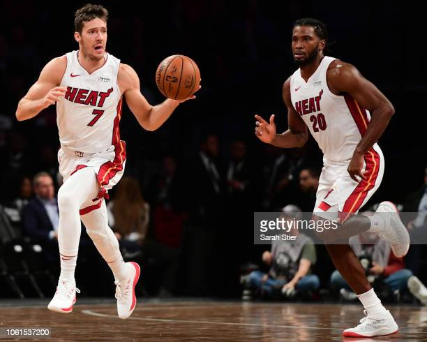 Goran Dragic and Justise Winslow of the Miami Heat move down the court in the second quarter during the game against Brooklyn Nets at Barclays Center...